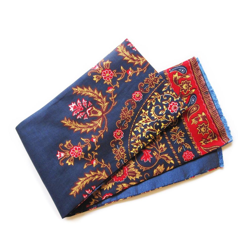 Red Floral On Blue Batik II