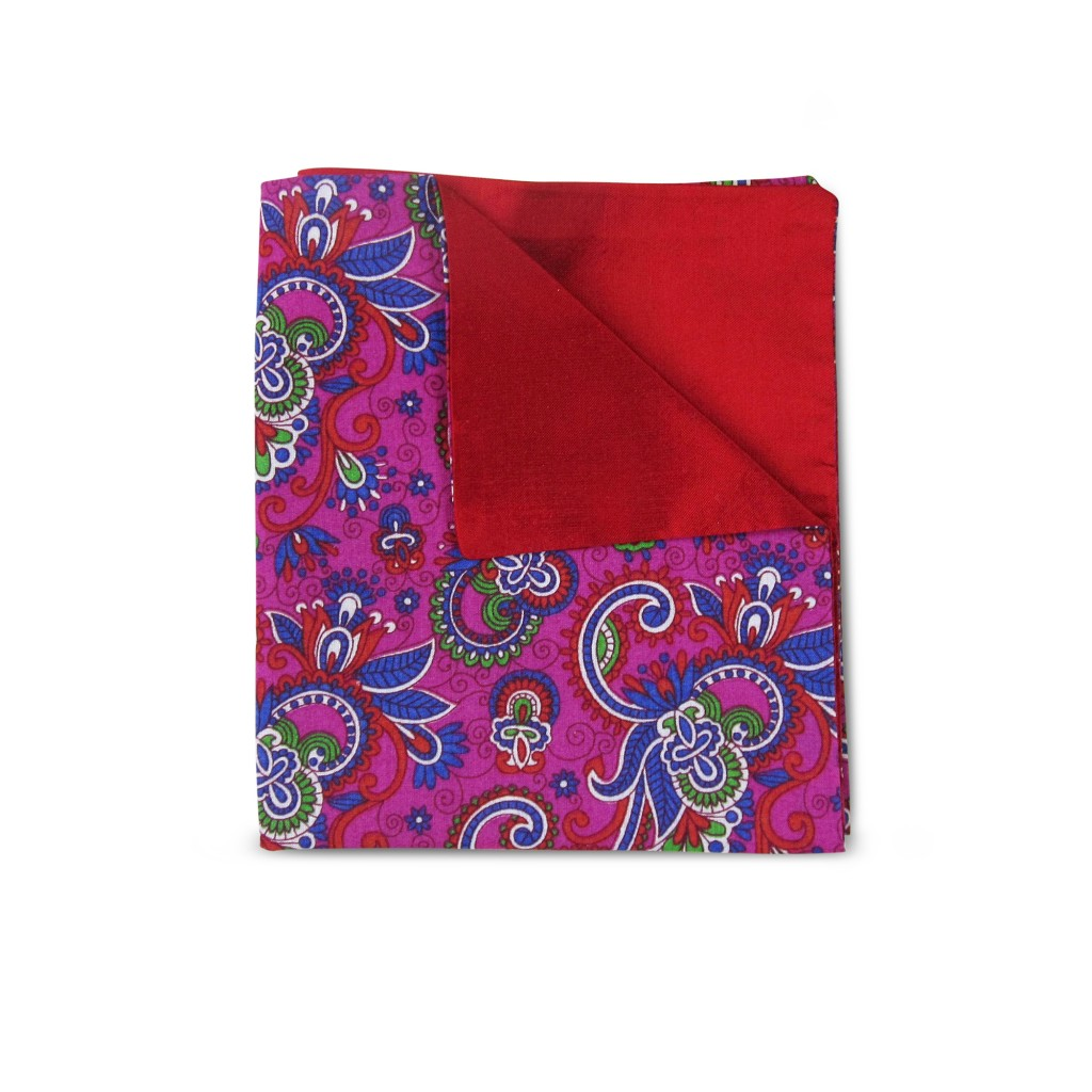 Blue & Green Floral Double-faced Reversible Pocket Square