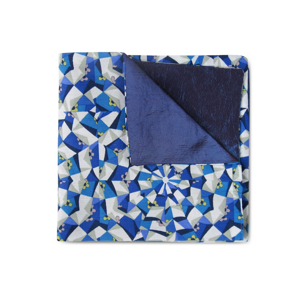 Blue kaleidoscope Double-faced Reversible Pocket Square