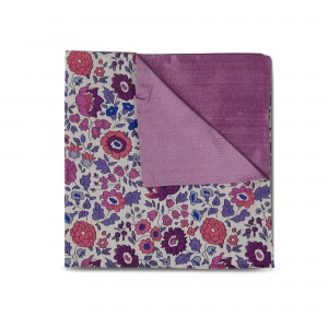 Pink & Blue Floral Double-faced Reversible Pocket Square