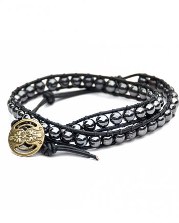 Hematite & Leather Double Wrap Bracelet