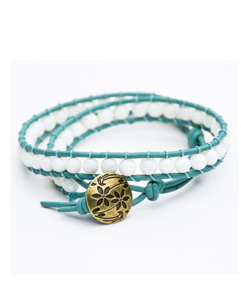 Mother of Pearl & Leather Double Wrap Bracelet