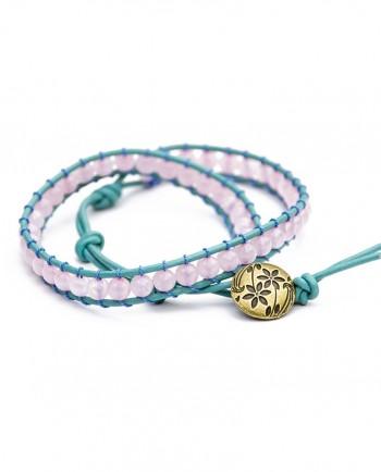 Rose Quartz & Leather Double Wrap Bracelet