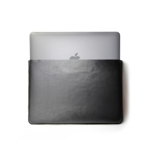 MacBook Black Leather Sleeve with Wool Felt