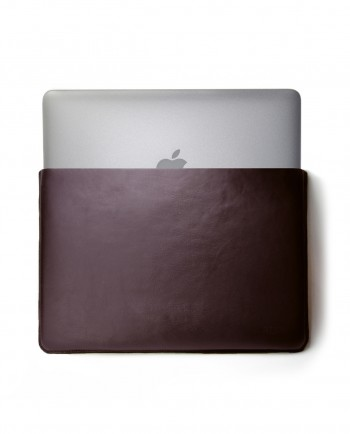 MacBook Brown Leather Sleeve with Wool Felt