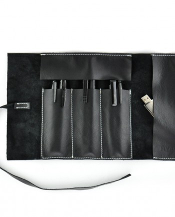 Leather Pencil Case Roll in Black