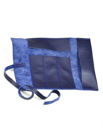 Leather Pencil Case Roll in blue