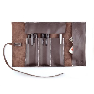Leather Pencil Case Roll in Brown