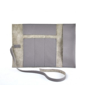 Leather Pencil Case Roll in Olive Green