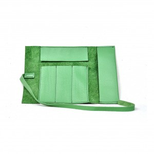Leather Pencil Case Roll in Mint Green