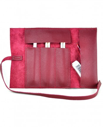 Leather Pencil Case Roll in red