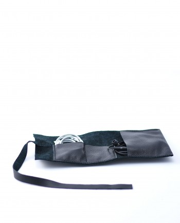 Leather Cable Roll in Black