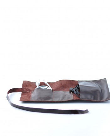 Leather Cable Roll in Antique Brown