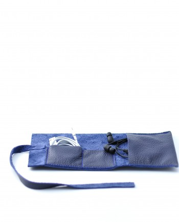 Leather Cable Roll in Blue