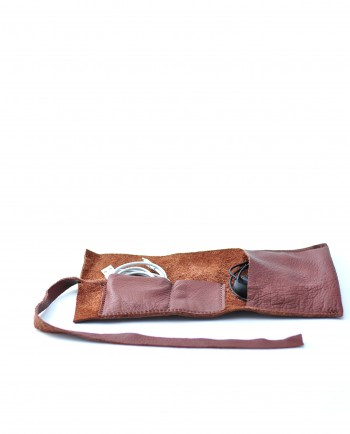 Leather Cable Roll in Brown