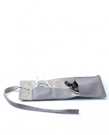 Leather Cable Roll in Grey