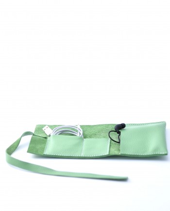 Leather Cable Roll in Mint Green