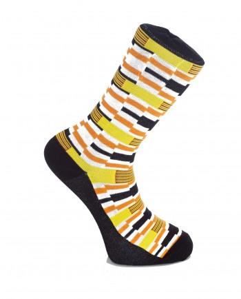 Keep On Moving - Kente Print Orange & Yellow Socks