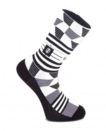 Off The Wall - Kente Print Black & White Socks