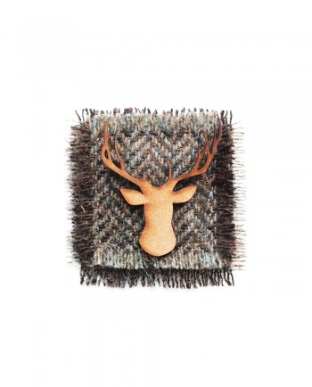 Henry Blue & Brown Herringbone Tweed Stag Lapel Pin