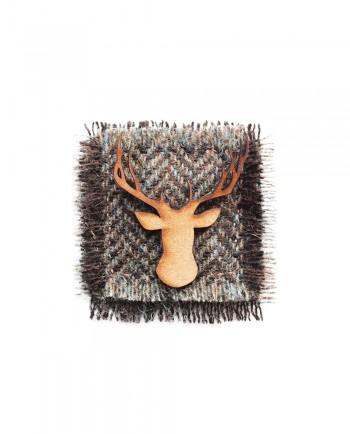 Henry Blue & Brown Herringbone Tweed Stag Lapel Pin