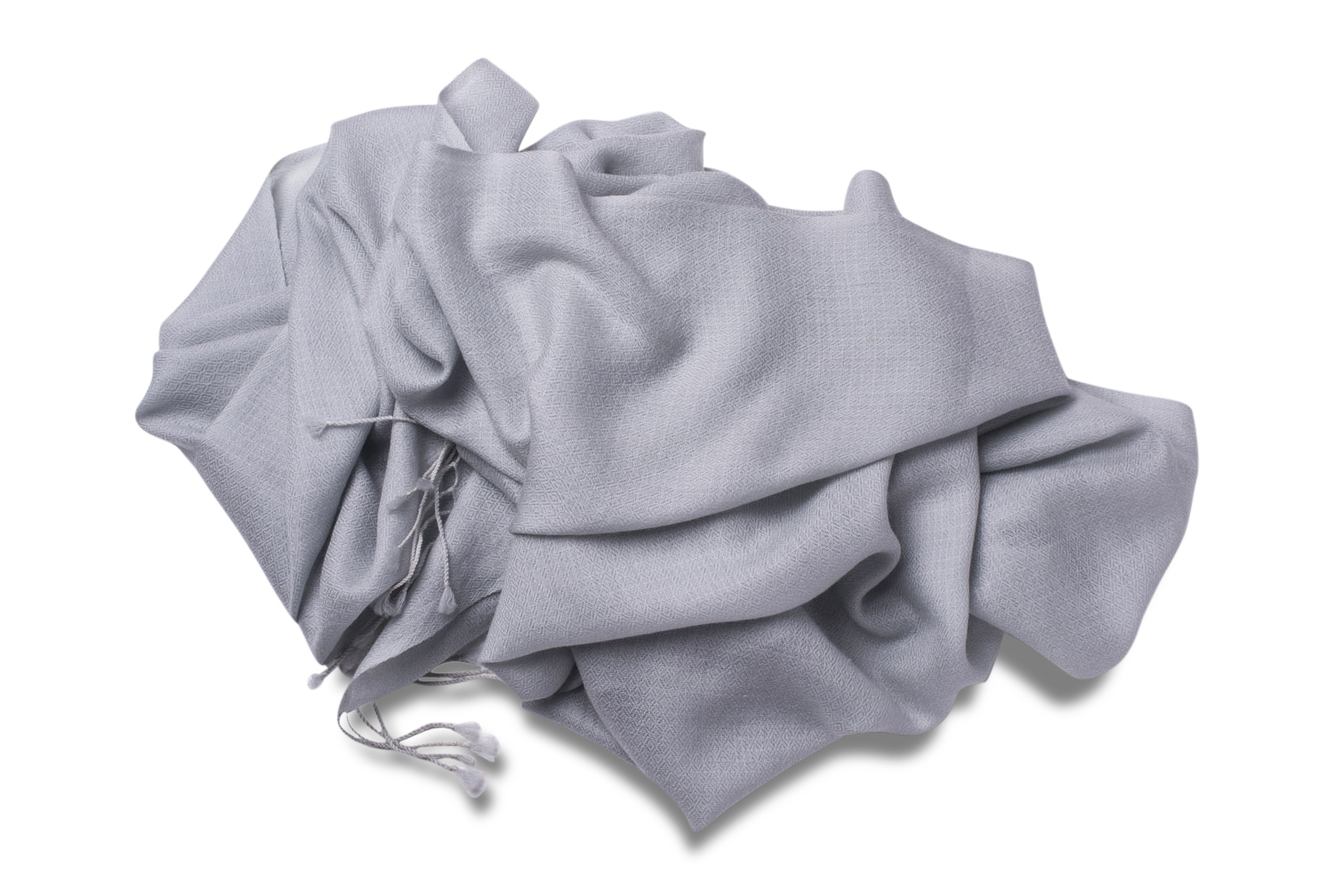 Cashmere Diamond Weave Scarf in Ice Grey
