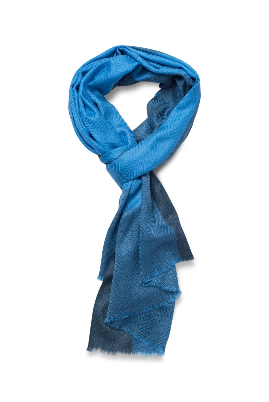 Cashmere Herringbone Weave Scarf in Blue