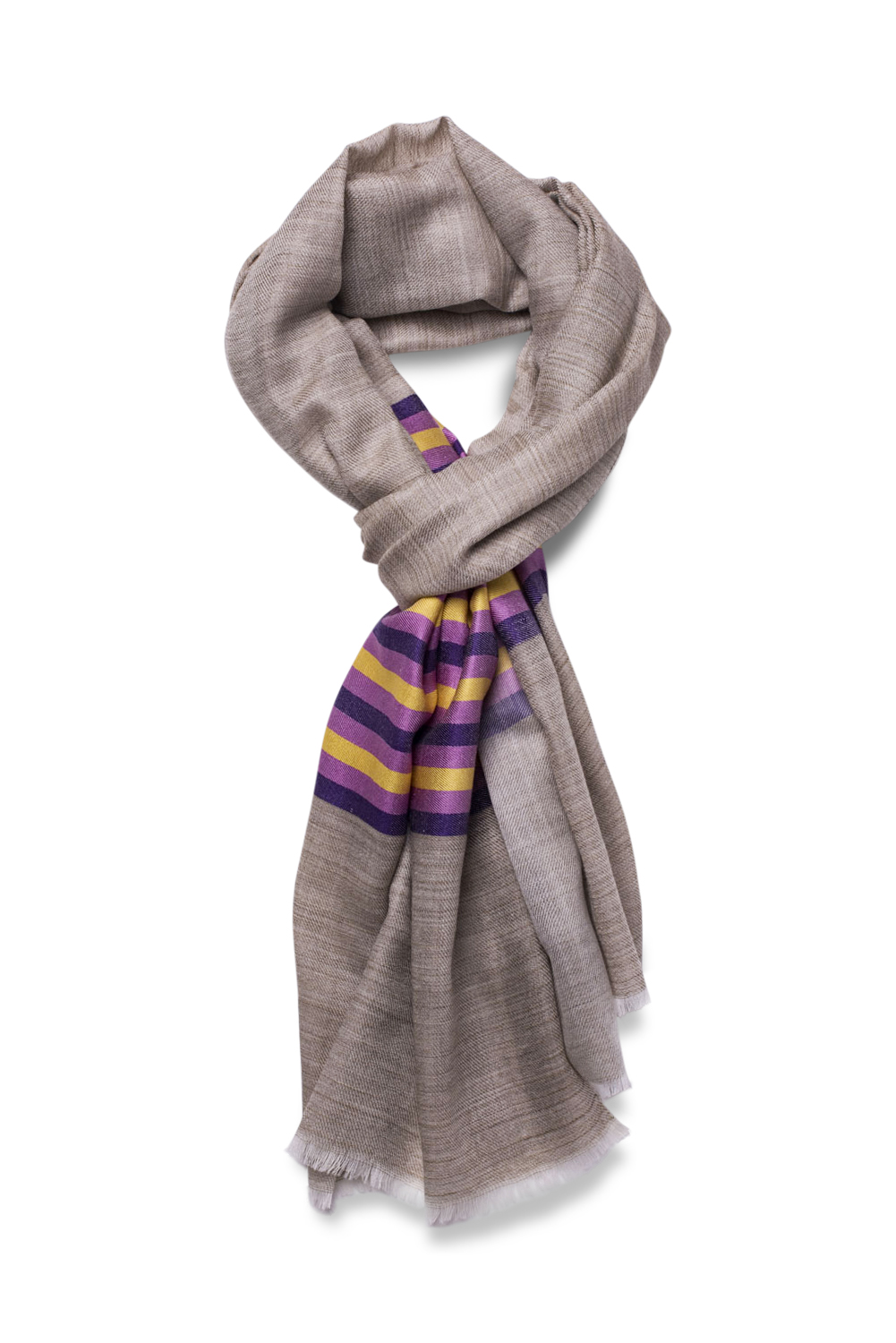 Marino-Silk Blend Banded Scarf in Purple & Yellow