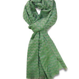Merino-Silk Blend Zig-zag Scarf in Green