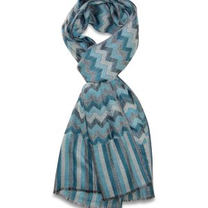 Merino-Silk Blend Zig-zag Scarf in Blue and Grey