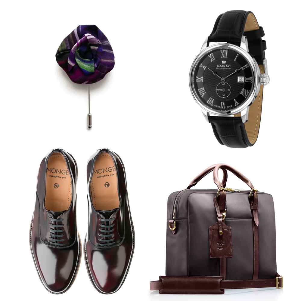 QDSMQ2-16-23 - S&L Bag - Monge Shoes - Ima Pico Lapel Flower - Louis XVI Watch