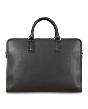 Addison Nappa Python Briefcase in Coffee
