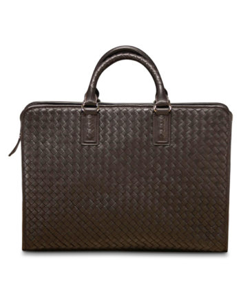 Addison Woven Briefcase in Coffee