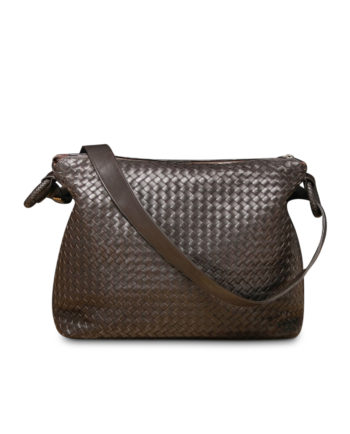 Corona Woven Messenger Bag in Coffee
